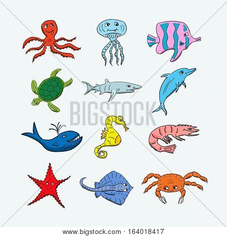 Cute ocean hand drawn animals on a light background. Vector illustration of a jellyfish, octopus, coral fish, turtle, shark, dolphin, whale, seahorse, shrimp, stingray, crab and starfish. Colorful cartoon creatures that can be used for children books deco