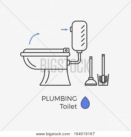 Toilet vector icon with schematic instructional arrows. WC linear icon. With brush and plunger set.