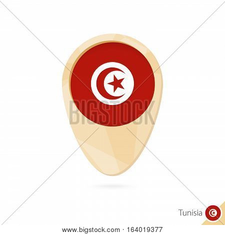 Map Pointer With Flag Of Tunisia. Orange Abstract Map Icon.