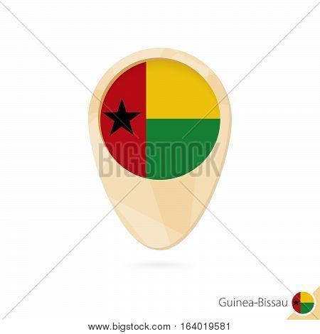 Map Pointer With Flag Of Guinea-bissau. Orange Abstract Map Icon.