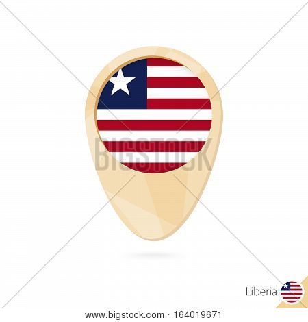 Map Pointer With Flag Of Liberia. Orange Abstract Map Icon.