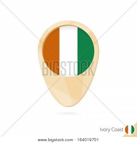 Map Pointer With Flag Of Ivory Coast. Orange Abstract Map Icon.