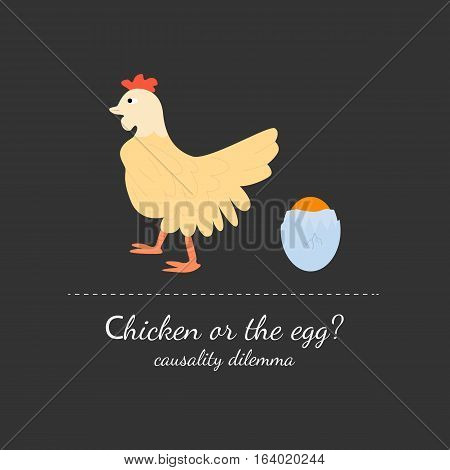 Chicken or the egg dilemma vector illustration in flat design style. Isolated on dark (black) background.