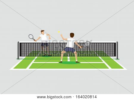 Vector illustration of two tennis players playing tennis sport in tennis court isolated on grey background.