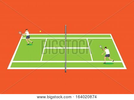 Cartoon tennis players playing a game of tennis in green tennis court isolated on bright orange background.