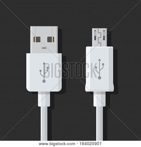 Micro USB cables on dark background. Connectors and sockets for PC and mobile devices.