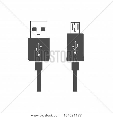 Micro USB cables icon isolated on white background. Connectors and sockets for PC and mobile devices. Computer peripherals connector or smartphone recharge supply