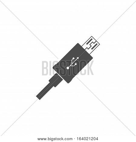 Micro USB cable cord icon isolated on white background.