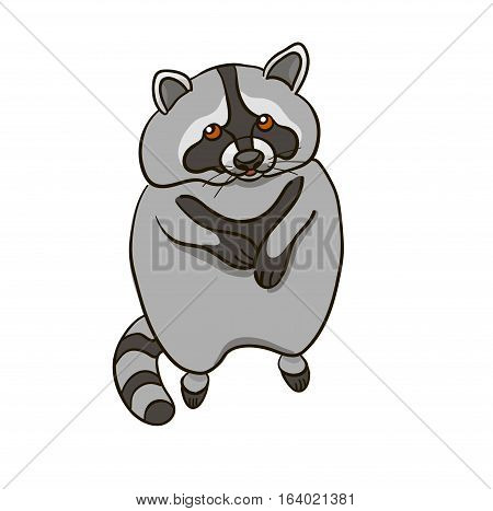 Vector illustration on a colorless background with a raccoon