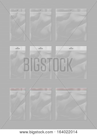Realistic plastic pocket bag mock up set isolated on grey background. Vector plastic pocket bag illustration. Blank 3d model empty plastic container, transparent bag with hang slot. Template plastic pocket for design. Blank plastic pocket bag.