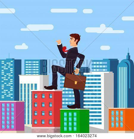 Vector illustration of farsighted businessman boss, metaphor