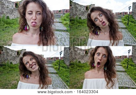 collage of emotions made by young pretty woman of cute girl in white dress with long hair at old ruined stony building of broken historical ancient ruins making crazy funny faces