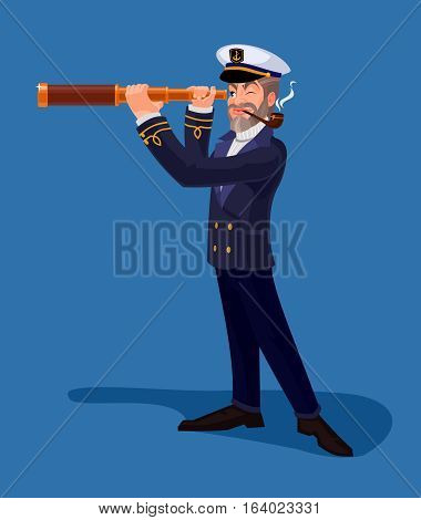 Vector illustration of an old sea captain smoking a pipe and looking through spyglass