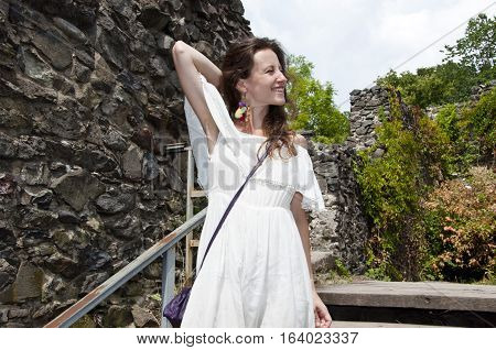 Pretty Girl On Stairs At Ruins