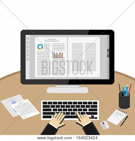 Businessman Using Computer At Desk. Word processor application.