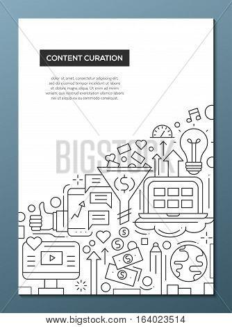 Content curation - vector plain line design brochure poster, flyer presentation template, A4 size layout. Business, web technology symbols