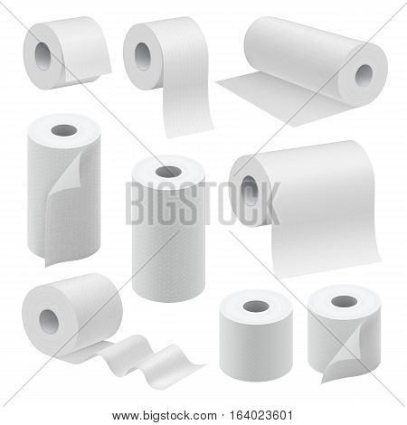 Realistic paper roll mock up set isolated on white background vector illustration. Blank white 3d model kitchen towel, toilet paper roll, cash register tape, thermal fax roll. Template collection