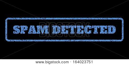 Blue rubber seal stamp with Spam Detected text. Vector message inside rounded rectangular frame. Grunge design and dirty texture for watermark labels. Horisontal sign on a black background.