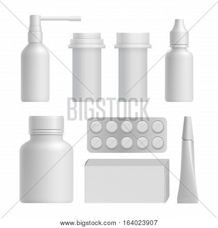 Realistic plastic medical bottle mock up set on white background vector illustration. Blank white package, container, box, blister of pills, tube, spray bottle. 3d medical bottle collection. Vector plastic medical bottle. Isolated plastic medical bottle.