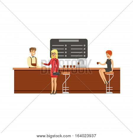 Woman Sitting At The Counter On Bar Chair At The Coffee Shop Drinking Coffee While Another Client Is Ordering Vector Illustration. Happy Cartoon Character At The Cafe Flat Drawing From Coffee And Pastry Shop Series.