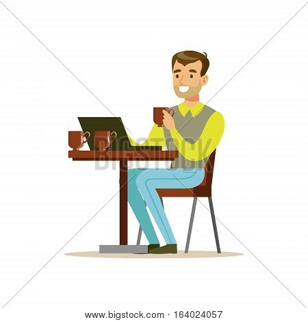 Man Drinking His Third Cup Of Coffee In The Coffee Shop While Video Chatting On His Lap Top Vector Illustration. Happy Cartoon Character At The Cafe Flat Drawing From Coffee And Pastry Shop Series.