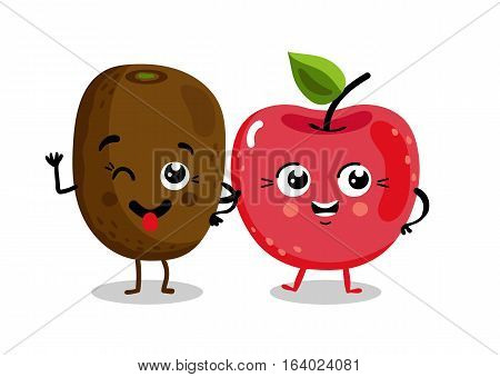 Cute fruit cartoon characters isolated on white background vector illustration. Funny cherry and kiwi emoticon face icon collection. Happy smile cartoon face food emoji, comical fruit mascot set.