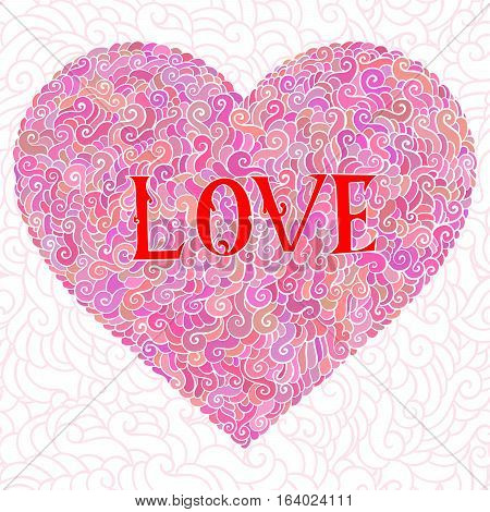 Colorful Doodle Background. Heart Valentines Day Card With Doodles On Ornate Pattern. Hand-drawn Des