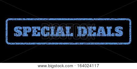 Blue rubber seal stamp with Special Deals text. Vector caption inside rounded rectangular banner. Grunge design and dirty texture for watermark labels. Horisontal emblem on a black background.