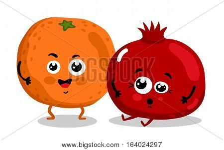 Cute fruit cartoon characters isolated on white background vector illustration. Funny orange and pomegranate emoticon face icon collection. Happy smile cartoon face food emoji, comical fruit mascot.