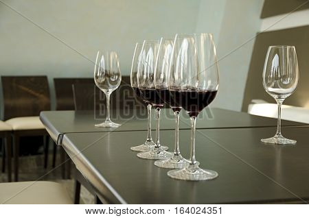 Red and white wine Glasses for wine tasting
