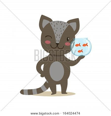 Black Little Girly Cute Kitten Cartoon Pet Character Life Situation Illustration. Cat Humanized Baby Animal And Its Activity Emoji Flat Vector Drawing