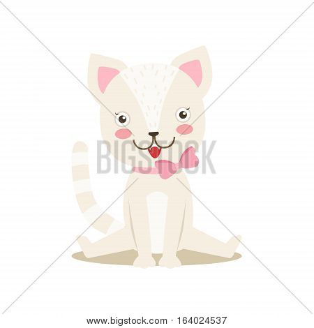 White Little Girly Cute Kitten With Bow Necklace, Cartoon Pet Character Life Situation Illustration. Cat Humanized Baby Animal And Its Activity Emoji Flat Vector Drawing