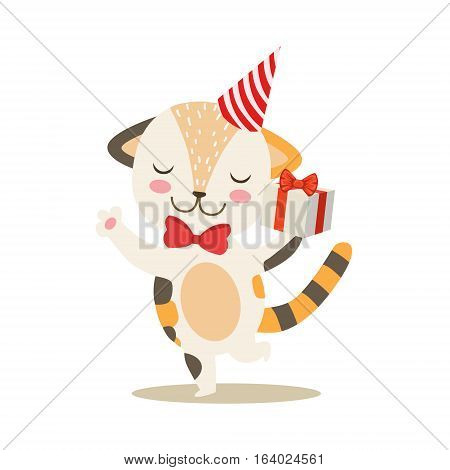 Dancing Little Girly Cute Kitten With Birthday Present Wearing A Party Hat, Cartoon Pet Character Life Situation Illustration. Cat Humanized Baby Animal And Its Activity Emoji Flat Vector Drawing
