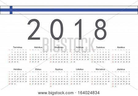 Simple rectangular Finnish 2018 year vector calendar. Week starts from Sunday.