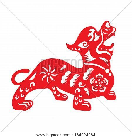 Red paper cut a Chinese dog zodiac and flower symbols