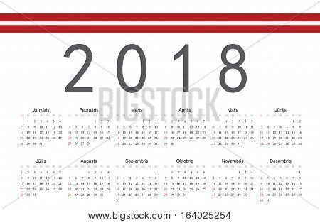 Simple rectangular Latvian 2018 year vector calendar. Week starts from Sunday.