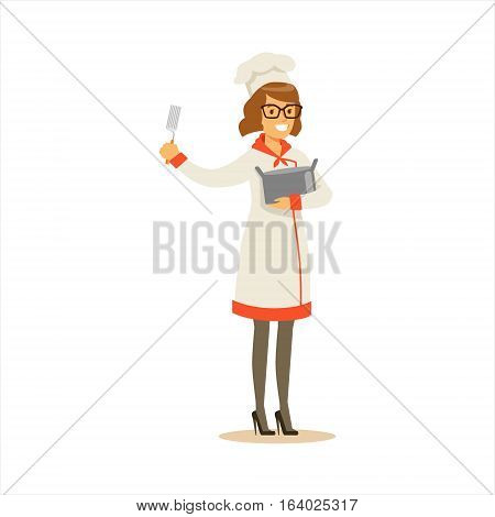 Woman Professional Cooking Chef Working In Restaurant Wearing Classic Traditional Uniform With Pot And Spatula Cartoon Character Illustration