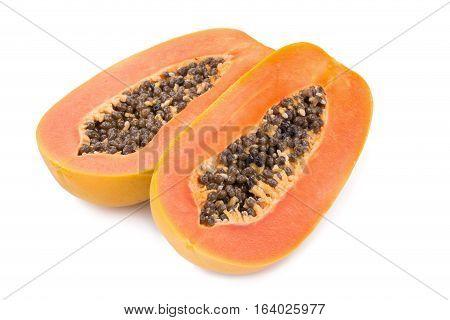 sweet papaya fruit isolated on white background