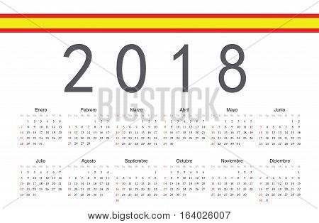 Simple rectangular Spanish 2018 year vector calendar. Week starts from Sunday.