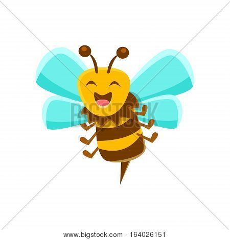 Laughing Bee Mid Air With Sting, Natural Honey Production Related Carton Illustration. Primitive Vector Drawing With Beekeeping Associated Object Isolated On White Background.