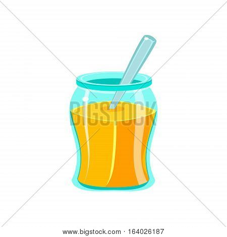 Glass Jar Filled With Honey With Spoon, , Natural Honey Production Related Carton Illustration. Primitive Vector Drawing With Beekeeping Associated Object Isolated On White Background.