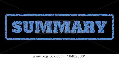Blue rubber seal stamp with Summary text. Vector caption inside rounded rectangular frame. Grunge design and unclean texture for watermark labels. Horisontal sticker on a black background.