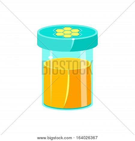 Jar Of Honey With Closed Lid, Natural Honey Production Related Carton Illustration. Primitive Vector Drawing With Beekeeping Associated Object Isolated On White Background.