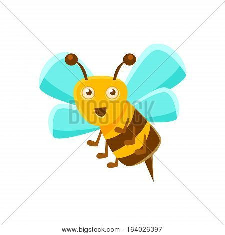 Smiling Bee Mid Air With Sting, Natural Honey Production Related Carton Illustration. Primitive Vector Drawing With Beekeeping Associated Object Isolated On White Background.
