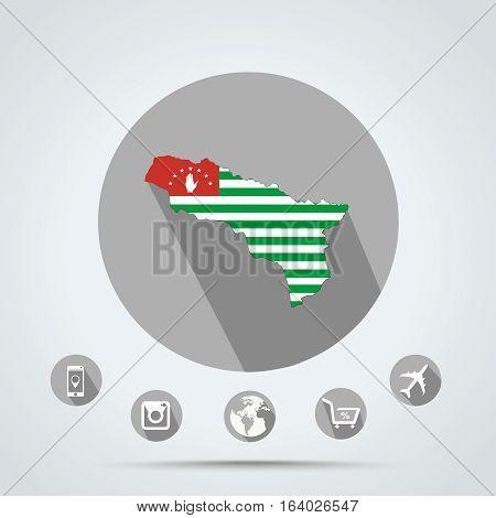 Set of Abkhazia Quality icons eps 10 ( Country icons Media icons Money icons Camera icons Mobile icons Police icons Web icons Globe icons )