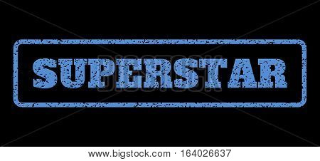 Blue rubber seal stamp with Superstar text. Vector caption inside rounded rectangular banner. Grunge design and dust texture for watermark labels. Horisontal sign on a black background.