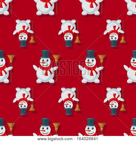 Seamless Pattern Snowman