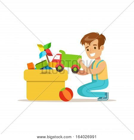 Boy Putting His Toys In Special Box Smiling Cartoon Kid Character Helping With Housekeeping And Doing House Cleanup. Vector Illustration From Children Home Cleaning And Tiding Series.