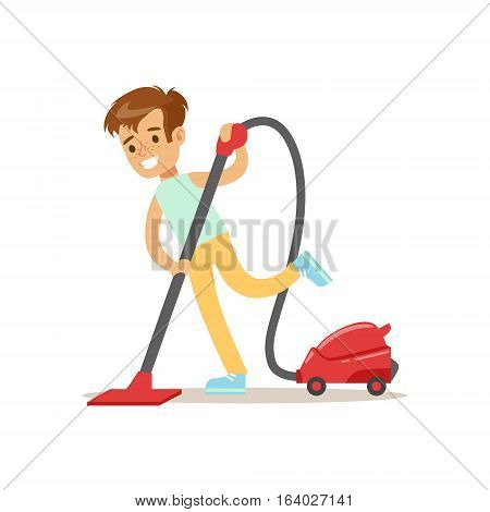 Boy Cleaning The Floor With Vacuum Cleaner Smiling Cartoon Kid Character Helping With Housekeeping And Doing House Cleanup. Vector Illustration From Children Home Cleaning And Tiding Series.