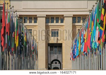 Set of flags in the office building